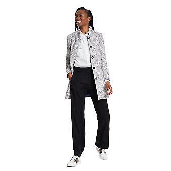 Desigual Mujeres's Blanco y Gris Manchester Semi Smart Coat 48