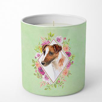 Jack Russell Terrier Green Flowers 10 oz Decorative Soy Candle