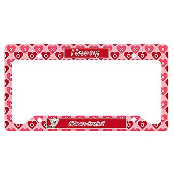 Chinois Crested Valentine-apos;s Love and Hearts License Plate Frame