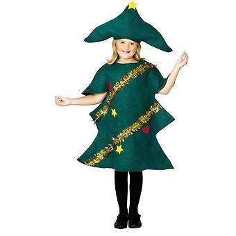 Costume de robe de fantaisie d'arbre de Noel d'enfants avec la tunique et le chapeau
