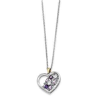 925 Sterling Silver Polished Lobster Claw Closure and 14K Amethyst and Topaz and Diamond Necklace 17 Inch Jewelry Gifts