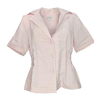 Joan Rivers Classics Collection Women's Blazer Gingham Jacket Pink A234125