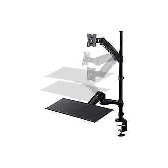 Sit-Stand Articulating Monitor and Keyboard Workstation | Made of High-Grade Aluminum and Steel by Monoprice