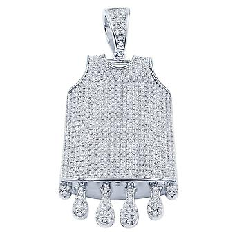 925 Sterling Silver Pendant - DRIP BASKETBALL JERSEY