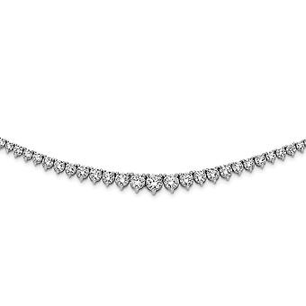 925 Sterling Silver Polished Prong set Rhodium Plated With CZ Cubic Zirconia Simulated Diamond Necklace 17 Inch Jewelry