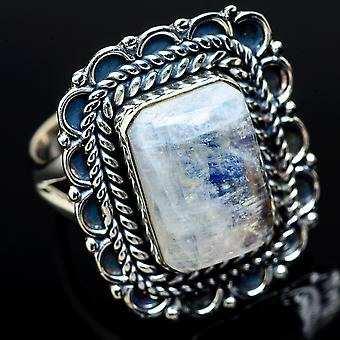 Rainbow Moonstone Ring Size 8.25 (925 Sterling Silver)  - Handmade Boho Vintage Jewelry RING11981