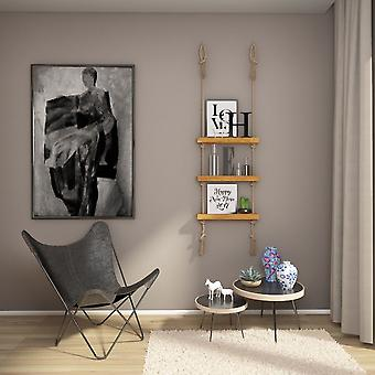 Holz Farbe Feimata Regal, Holz Ecru, Juta, L50xP9xA125 cm