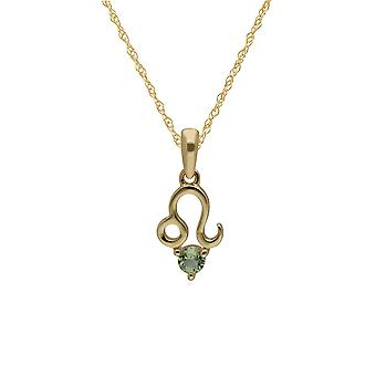 Peridot Leo Zodiac Charm Necklace in 9ct Yellow Gold 135P1999019