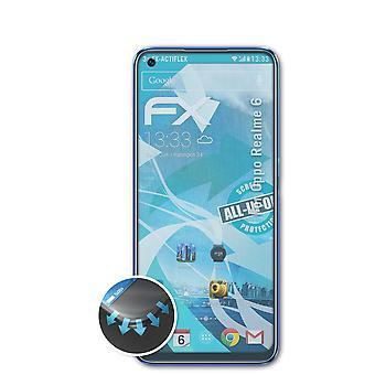 atFoliX 3x Schutzfolie kompatibel mit Oppo Realme 6 Displayschutzfolie klar