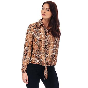 Women's Brave Soul Snake Print Tie Front Blouse in Brown