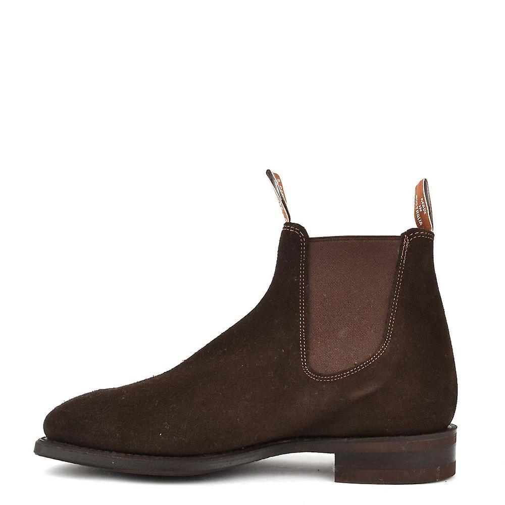 R.m. Williams Suede Comfort Craftsman Chocolate Chelsea Boots