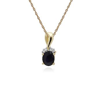 Classic Oval Sapphire & Diamond Twisted Bale Pendant Necklace in 9ct Yellow Gold 135P1898039