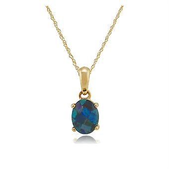 Classic Oval Triplet Opal Pendant Necklace in 9ct Yellow Gold 9048