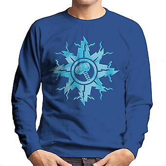 Marvel Christmas Thor Hammer In Snowflake Men's Sweatshirt