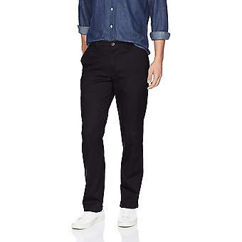Essentials Men's Straight-Fit Casual Stretch Khaki, Nero, 36W x 30L