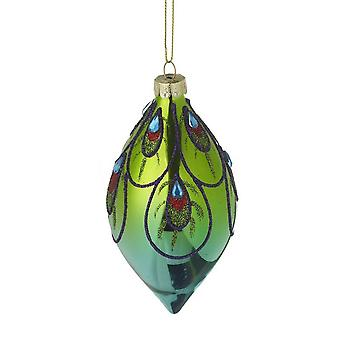 Colourful Glittery Peacock Glass Finial Bauble