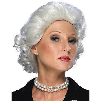 Queen Elizabeth White Royal Grey Granny Grandma Women Costume Wig