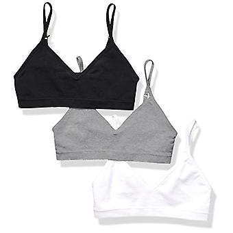 Essentials Girls' 3-Pack Seamless Training Bra, Grey Heather/White/Black