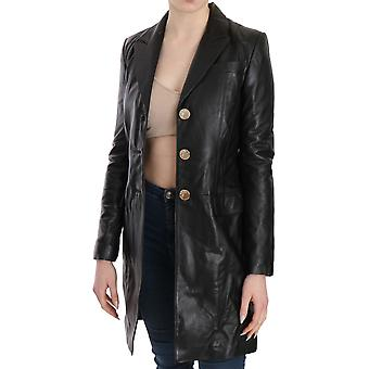 Versace Black Button Embellished Long Coat Jacket -- TSH3429360