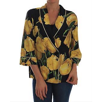 דולצ ' ה & גבאנה משי צהוב צבעוני חולצה פרחונית TSH1927-1