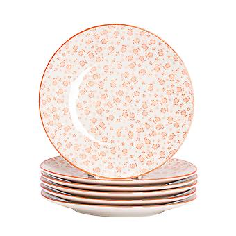 Nicola Spring 6 Piece Daisy Patterned Side Plate Set - Small Porcelain Dining Plates - Coral - 19cm