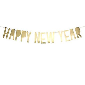 Gold 'Happy New Year' Card Banner Bunting 2m String