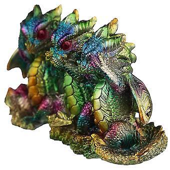 Puckator Rainbow Metallic Dragon Hear No See No Speak No Evil