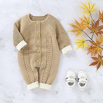 Autumn Winter Infant Baby Knitted Romper Button Long Sleeve Jumpsuit Playsuit