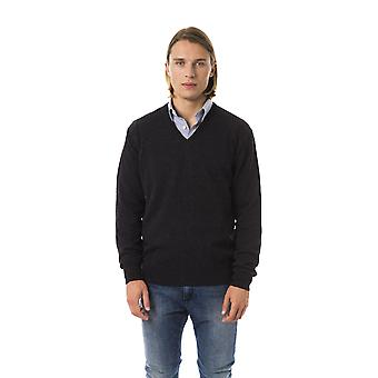 Uominitaliani Antrac V-Neck Extrafine Wool Sweater