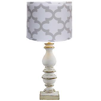 Nødlidende look hvid bordlampe med grå og hvid nuance