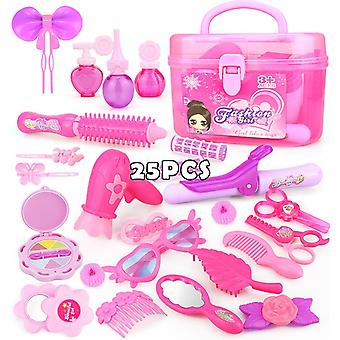 25PCS Pretend Make Up Toys Princess Hairdressing Pink Makeup Set  Simulation Plastic Toy For Girls Dressing Cosmetic