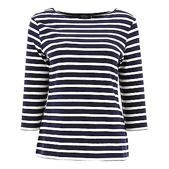 Saint James 5517dh Women's White/blue Cotton Sweater