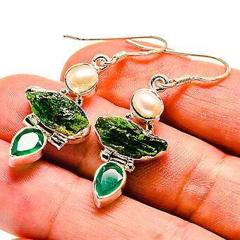 "Rough Chrome Diopside, Green Onyx, Cultured Pearl Earrings 1 3/4"" (925 Sterling Silver)  - Handmade Boho Vintage Jewelry EARR408160"