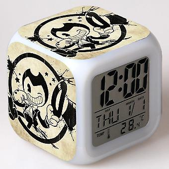 Colorful Multifunctional LED Children's Alarm Clock -Bendy e a máquina de tinta