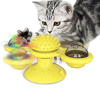 Windmill Cat Toy With Bells, Kitten Turntable Teasing Interactive Toy With Suction Cup, Self Massage Brush For Kittens, Teeth Cleaning Toy For Cats
