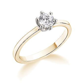 9K Yellow Gold Classic 6 Claw 0.30Ct Certified Solitaire Diamond Engagement Ring