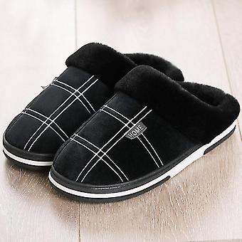 Papuci de iarnă cald Bărbați Suede Gingham Scurt Plush pantofi de interior