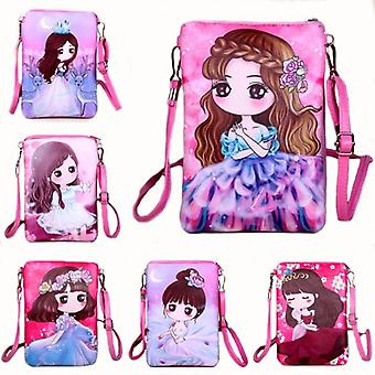 Lady Zipper Pu Leather Bags Cartoon Printing/mini Messenger Chest Bag Cross