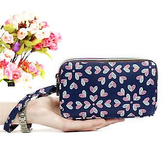 Print Wallet Canvas Zipper Large Capacity, Day Clutch Coin Purse For Cellphone