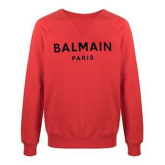 Balmain Vh1jq005b0423kf Mænd's Rød Bomuld Sweatshirt