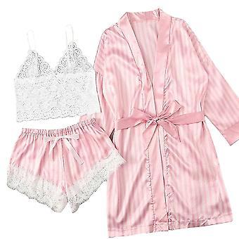 Langarm Pyjama Sexy Spitze Dessous Nachtwäsche Unterwäsche Sleepwear Anzug