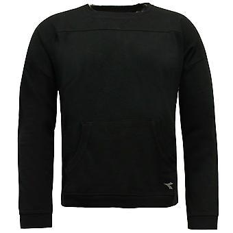 Diadora Womens Crew Neck Sweatshirt Pullover Jumper Black 102 172195 80013 A77E