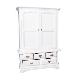 Dolls House Valkoinen PellaKaappi Armoire Miniatyyri 1:12 Makuuhuoneen huonekalut