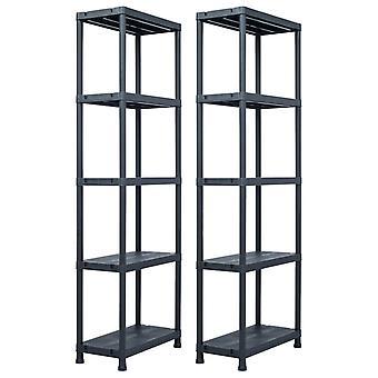 Storage shelves 2 pcs. black 125 kg 60 x 30 x 180 cm plastic
