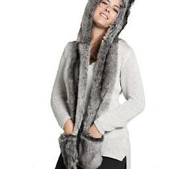 Women/men Winter Faux Fur Hood, Animal Ear Flaps, Hand Pockets 3in1, Hat Wolf,