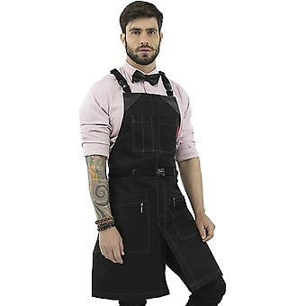 Under NY Sky Cross-Back Barber Black Apron – Heavy-Duty Nylon, Water and Chemical Resistant