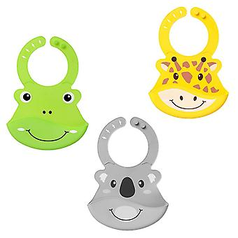 Nuby roly poly animal face bib all 3 supplied