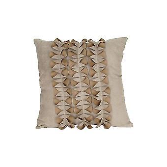 Oreiller d'accent de tissu avec la conception plissée d'arc, beige