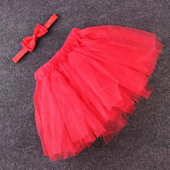 Red Fluffy Set With Bow Headband