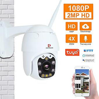 Pripaso 1080P Outdoor PTZ Wireless IP Camera TuyaSmart Mobile App with Two Way Audio CCTV Auto IR Ni